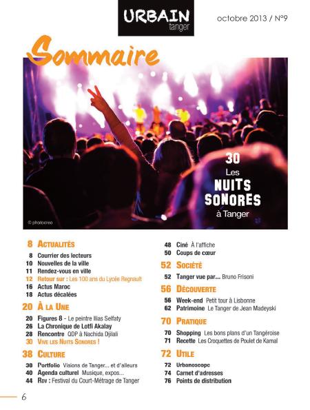 Sommaire du n°9 du magazine URBAIN Tanger